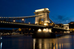 Széchenyi Chain Bridge Budapest Hungary at Night stock image
