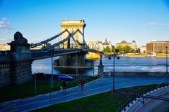 The Széchenyi Chain Bridge in Budapest, Hungary. The sun sets on the Széchenyi Chain Bridge in Budapest, Hungary stock photos