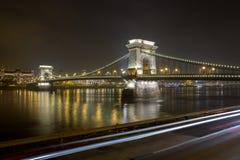 Széchenyi Lanchíd (puente de cadena) Fotos de archivo libres de regalías