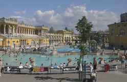Széchenyi Spa Budapest. View of the outdoor with hot springs Széchenyi Spa Royalty Free Stock Images