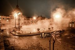 Széchenyi Thermal Bath - Roman Baths. Roman baths at night in Budapest, Hungary - Eastern Europe Royalty Free Stock Images