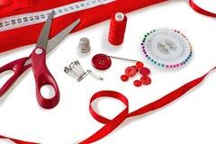 Szący narzędzie - nożyce, guziki, szy szpilki obraz stock