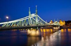 Szabadsag noc widok chował, Budapest Obrazy Stock