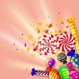 Szablonów różnych cukierków kolorowy tło Ustawia lizaki, cukierki dragee, miętówka, macarons, czekolada, karmel ilustracja wektor