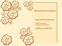 Szablonów zaproszenia na beżowym tle Obrazy Royalty Free