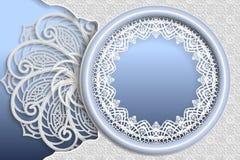 Szablon ślubni powitania lub zaproszenia 3D mandala, round rama z koronek krawędziami, powierzchnia z reliefowym wzorem Kwiecisty royalty ilustracja