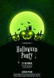 Szablon dla Halloween przyjęcia Okropny pojęcie krzyże, grób i rozjarzone banie, Zielony pył czarna sowa księżyc w pełni pagodowy royalty ilustracja