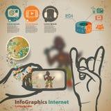 Szablon dla infographic z muzyki piractwem i koncertem ilustracja wektor
