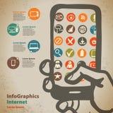 Szablon dla infographic z przyrządami przystępować internet wewnątrz Zdjęcia Stock