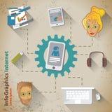 Szablon dla infographic z smartphone w rocznika stylu ilustracji