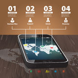 Szablon dla infographic z telefonem komórkowym Fotografia Royalty Free