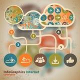 Szablon dla infographic z zawartością w chmurze ilustracja wektor