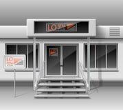 Szablon dla reklamować 3d sklepu przodu fasadę Sklepowa powierzchowność dla korporacyjnej tożsamości Pusty mockup witryna sklepow royalty ilustracja