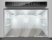 Szablon dla reklamować sklep frontową fasadę Realistycznej powierzchowności pusty sklep z okno Pusty mockup elegancki szkło Obrazy Stock