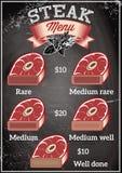 Szablon dla restauracyjnego menu z stkami różni stopnie prażak ilustracja wektor