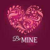 Szablon dla valentine karty z sercem Zdjęcia Royalty Free