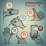 Szablon infographic na rozpowszechnianiu ręka gesty ilustracja wektor
