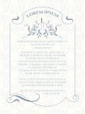 Szablon karta Monogram, granica, rama i klasyczny bezszwowy wzór, ilustracja wektor