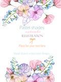 Szablon pocztówka z z akwareli oferty liśćmi w pastelowych cieniach i kwiatami, ręka rysująca na białym tle Zdjęcie Royalty Free