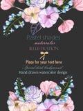 Szablon pocztówka z z akwareli oferty liśćmi w pastelowych cieniach i kwiatami, ręka rysująca na ciemnym tle Fotografia Royalty Free