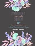 Szablon pocztówka z z akwareli oferty liśćmi w pastelowych cieniach i kwiatami, ręka rysująca na ciemnym tle Zdjęcie Royalty Free