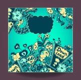 Szablon pojęcie puszka ładunek z doodle potworów morskim błękitem Obrazy Royalty Free