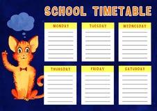 Szablon szkolny rozkład zajęć z dniami tydzień i bezpłatne przestrzenie dla notatek Wręcza patroszoną akwareli ilustrację z kresk royalty ilustracja