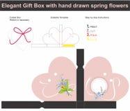 Szablon teraźniejszości pudełko w kierowym kształcie z ręka rysującym wiosny flowe Fotografia Stock