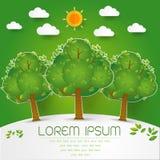Szablon Ustawiający Zielony las, drzewa i krzaki, strzelamy up papierowego cięcie Zdjęcie Royalty Free