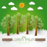 Szablon Ustawiający Zielony las, drzewa i krzaki, strzelamy up papierowego cięcie Zdjęcie Stock