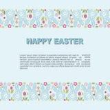 Szablon z królików kwiatami dla Szczęśliwego Wielkanocnego dnia i głową Obraz Royalty Free