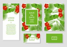 Szablon z tropikalnymi kwiatami i liśćmi Deseniowa ulotka, zaproszenie, ulotka, wizytówka Fotografia Royalty Free