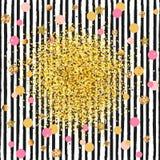 Szablon z złotymi confetti i czerni lampasami ilustracja wektor