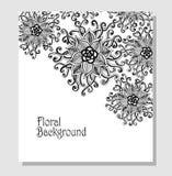 Szablonu Doodle kwiatów wzoru czerń na bielu Zdjęcie Royalty Free