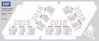 Szablonu kalendarza hiszpański 2018 ostrosłup kształtujący Zdjęcie Stock
