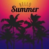 Szablonu lato z czarnymi drzewkami palmowymi na koloru tle Cześć ilustracji
