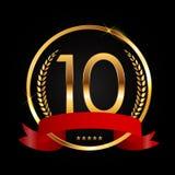 Szablonu logo 10 rok Rocznicowej Wektorowej ilustraci Fotografia Stock
