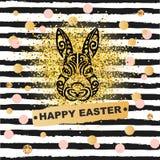 Szablonu pojęcie z królik głową odizolowywającą na pasiastym tle Obraz Royalty Free