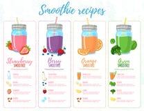 Szablonu projekta sztandary, broszurki, menu, ulotki smoothie przepisy Projektuje menu z przepisami i składnikami dla a Zdjęcie Royalty Free