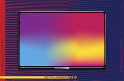 Szablonu realistyczny czarny laptop na colour tle Płaska ilustracja Eps 10 royalty ilustracja