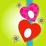 Szablonu serca kartka z pozdrowieniami Zdjęcie Royalty Free