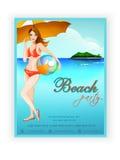 Szablonu, sztandaru lub ulotki projekt dla plaży przyjęcia, Obraz Royalty Free