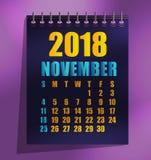 2018 szablonu wektoru kalendarzowa ilustracja ilustracja wektor