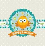 Szablonu Wielkanocny kartka z pozdrowieniami, kurczątko, wektor Obrazy Royalty Free