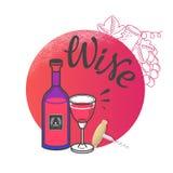 Szablonu wina lista, zaproszenie, wydarzenie lub przyjęcie, Zdjęcie Stock