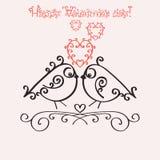 Szablonu zaproszenie dla walentynka dnia lub kartka z pozdrowieniami Romantyczny nostalgia projekt z parą w miłość ptaszynach ilustracja wektor