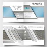 Szablony dla kwadratowej broszurki, magazyn, ulotka, broszura Ulotki pokrywa, płaski układ naukowe badania medyczne Zdjęcia Royalty Free