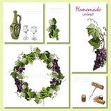 Szablony dla menu, zaproszenie, etykietki z wino produktu elementami, gałązki winogrono lub wianek, Ręka rysujący nakreślenie ilustracji