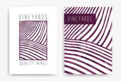 Szablony z wino projektami Rysować rzędy winnicy z wino plamami Broszurki, plakaty, zaproszenie karty, promocyjne royalty ilustracja