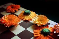 Szachowa deska i kwiaty Zdjęcia Royalty Free
